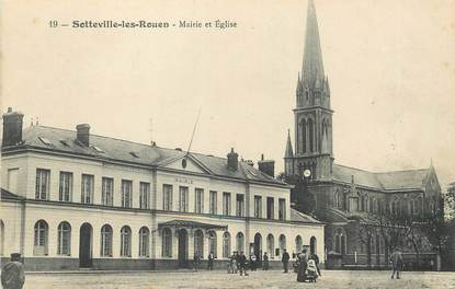 """/ CPA FRANCE 76 """"Sotteville les Rouen, mairie et église"""""""