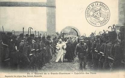 """CPA FRANCE 38 """"Saint Pierre de Chartreuse, expulsion des Pères"""""""