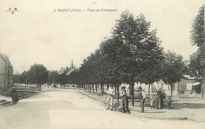 "/ CPA FRANCE 18 ""Baugy, place du commerce"""
