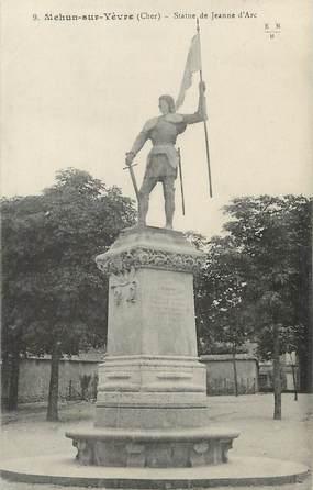 """/ CPA FRANCE 18 """"Mehun sur Yèvre, statue de Jeanne d'Arc"""""""