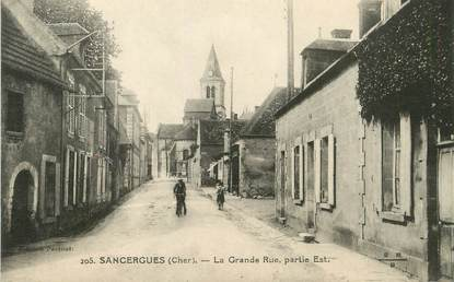 "/ CPA FRANCE 18 ""Sancergues, la grande rue"""