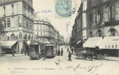 "/ CPA FRANCE 33 ""Bordeaux, le cours de l'intendance"" / TRAMWAY"