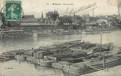 """/ CPA FRANCE 76 """"Rouen, ile Lacroix"""" / BATELLERIE"""