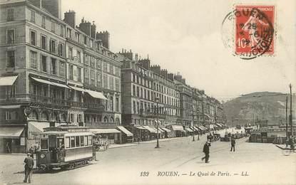 """/ CPA FRANCE 76 """"Rouen, le quai de Paris"""" / TRAM"""
