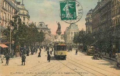 """/ CPA FRANCE 75004 """"Paris, la rue du temple et la place de la République"""" / TRAMWAY"""