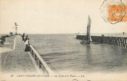 """/ CPA FRANCE 76 """"Saint Valéry en Caux, les jetées et le phare"""""""