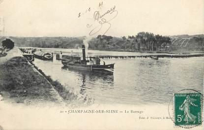 """/ CPA FRANCE 77 """"Champagne sur Seine, le barrage"""""""
