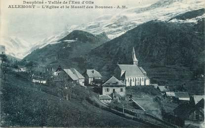 """/ CPA FRANCE 38 """"Allemont, l'église et le massif des rousses"""""""