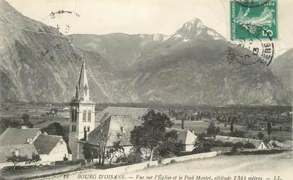 """/ CPA FRANCE 38 """"Bourg d'Oisans, vue sur l'église et le pied Montet"""""""
