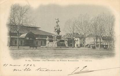 "/ CPA FRANCE 65 ""Tarbes, place Marcadieu, la fontaine monumentale"""