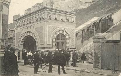 """/ CPA FRANCE 76 """"Le Tréport Terrasse, la station du funiculaire"""""""