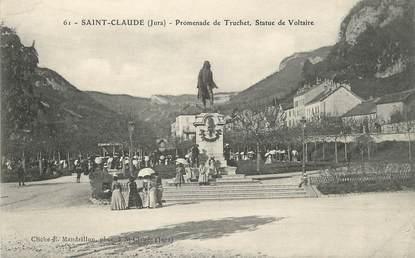 """/ CPA FRANCE 39 """"Saint Claude promenade de Truchet, statue de Voltaire"""""""