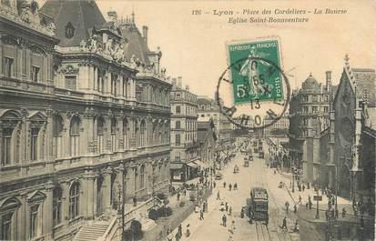 """/ CPA FRANCE 69 """"Lyon, place des cordeliers, la bourse, église Saint Bonaventure"""""""