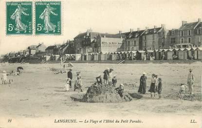 """/ CPA FRANCE 14  """"Langrune, la plage et l'hôtel du petit Paradis"""""""