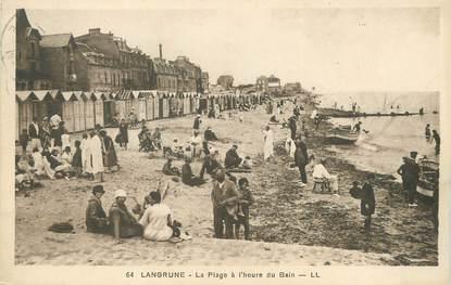 """/ CPA FRANCE 14  """"Langrune, la plage à l'heure du bain"""""""