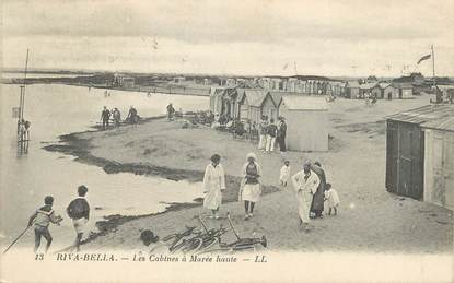 """/ CPA FRANCE 14 """"Riva Bella, les cabines à marée haute"""""""
