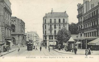 """CPA FRANCE 31 """"Toulouse, la Place Esquirol"""" / TRAMWAY"""