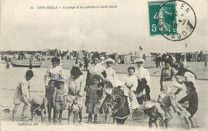 """/ CPA FRANCE 14 """"Riva Bella, la plage et les cabines à marée haute"""""""