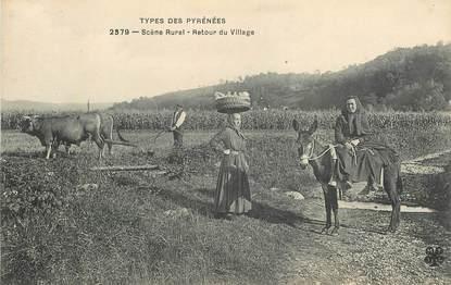 """CPA FRANCE 64 """"Retour du village"""" / FOLKLORE"""