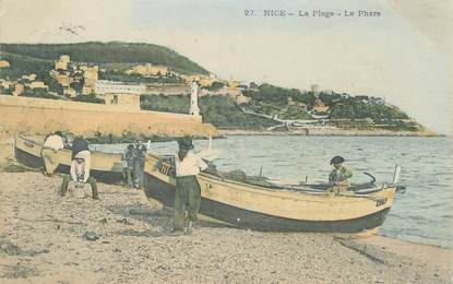 "CPA  FRANCE 06 ""Nice , la plage, le phare"""