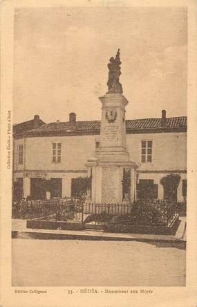 """CPA ALGERIE """"Médéa, monument aux morts"""""""