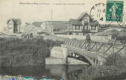 """/ CPA FRANCE 76 """"Pourville sur mer, la grande rue et le pont de la Sue"""""""