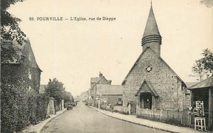 """/ CPA FRANCE 76 """"Pourville, l'église, rue de Dieppe"""""""