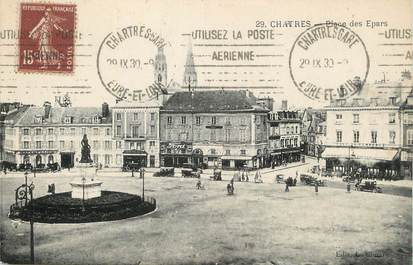 "/ CPA FRANCE 28 ""Chartres, place des Epars"" / FLAMME"