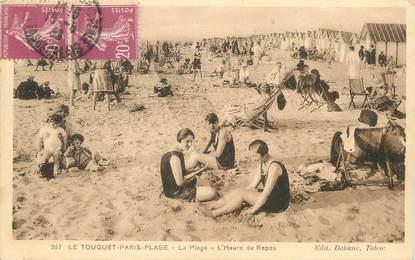 """/ CPA FRANCE 62 """"Le Touquet, Paris Plage, la plage à l'heure du repos"""""""