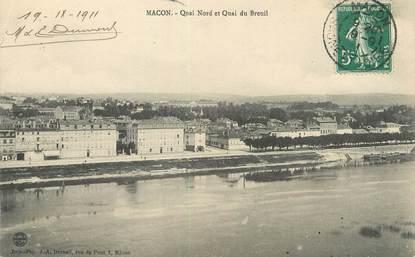 "/ CPA FRANCE 71 ""Macon, quai Nord et quai de Breuil"""