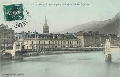 """/ CPA FRANCE 38 """"Grenoble, pont suspendu sur l'Isère et le palais de justice"""""""