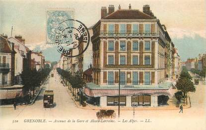 """/ CPA FRANCE 38 """"Grenoble, avenues de la gare et Alsace Lorraine"""", les Alpes"""""""