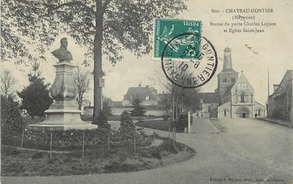 """/ CPA FRANCE 53 """"Château Gontier, statue du poète Charles Loyson et église Saint Jean"""" / POETE"""