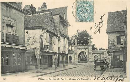 """/ CPA FRANCE 35 """"Vitré, la rue de Paris, entrée du cimetière"""""""