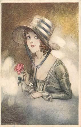 """CPA ILLUSTRATEUR MAUZAN """"Femme au chapeau"""""""