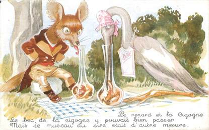 """CPA ILLUSTRATEUR MAUZAN """"Le Renard et la Cigogne"""""""