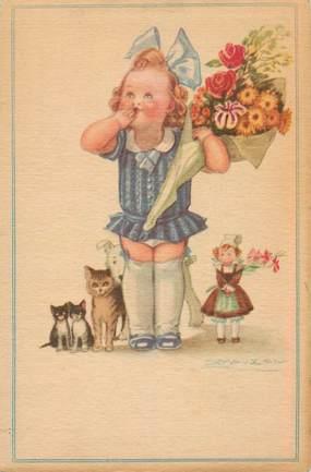 """CPA ILLUSTRATEUR MAUZAN """"Enfant et bouquet de fleurs"""""""