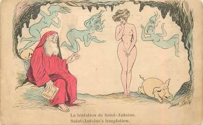 """CPA ILLUSTRATEUR SAGER """"La Tentation de Saint Antoine"""" / NU"""