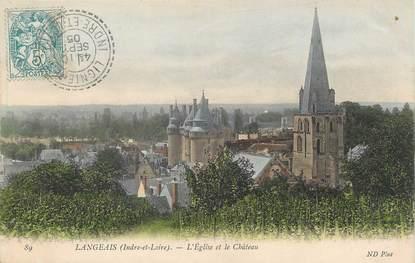 """/ CPA FRANCE 37 """"Langeais, l'église et le château"""" / CACHET PERLE"""