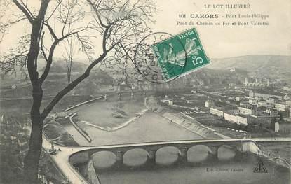 """/ CPA FRANCE 46 """"Cahors, pont Louis Philippe, pont du chemin de fer et pont Valentré"""""""