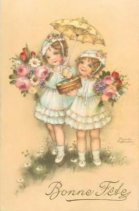 """CPA ILLUSTRATEUR PETERSEN """"Petites filles et fleurs"""""""