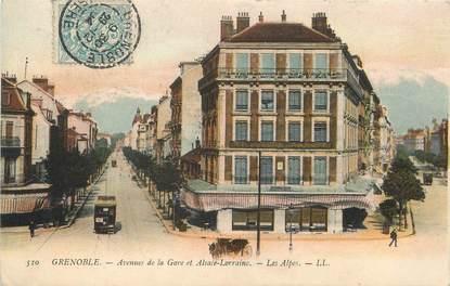 """/ CPA FRANCE 38 """"Grenoble, avenues de la gare et Alsace Lorraine"""", les Alpes"""" / TRAMWAY"""