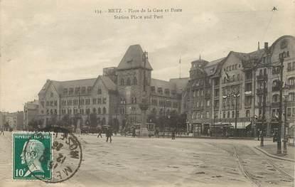 """/ CPA FRANCE 57 """"Metz, place de la gare et poste"""""""