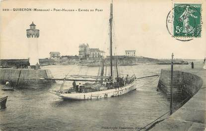 "/ CPA FRANCE 56 ""Quiberon, Port Haligen, entrée du port"""