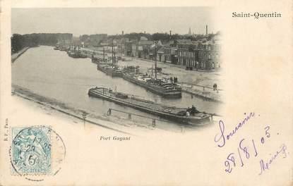 "/ CPA FRANCE 02 ""Saint Quentin, port Gayant"" / PENICHE"