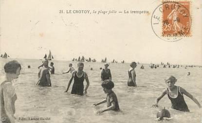 """/ CPA FRANCE 80 """"Le Crotoy, la plage jolie, la trempette""""'"""