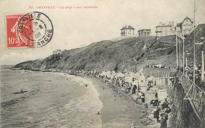 """/ CPA FRANCE 50 """"Granville, la plage à mer montante"""""""