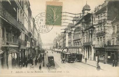 "/ CPA FRANCE 59 ""Lille, la rue Nationale"""