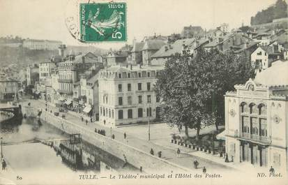 """/ CPA FRANCE 19 """"Tulle, le théatre municipal et hôtel des postes"""""""