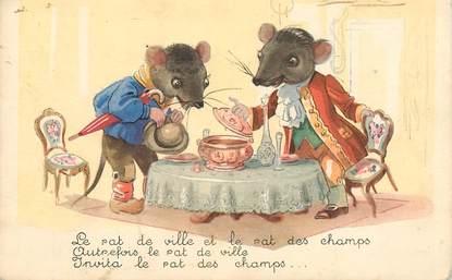 """CPA  ILLUSTRATEUR MAUZAN """"Le rat de ville et le rat des champs"""""""